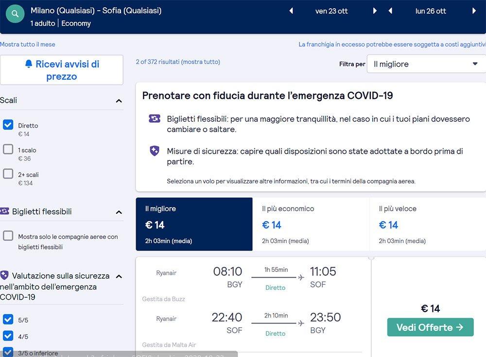 Offerte Voli a Ottobre: Volo diretto a/r da 14€